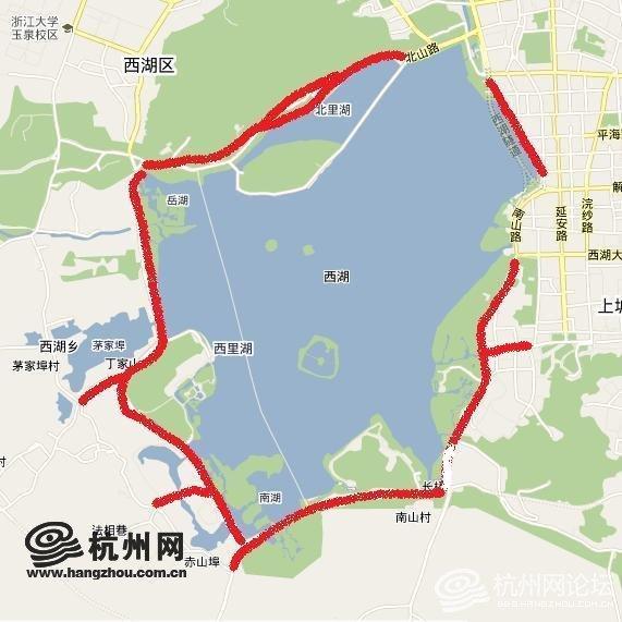 西湖景区 手绘地图