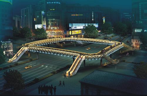 庆春路天桥夜景效果图.-延安路4月开工整治 新建7个人行地道1个天桥